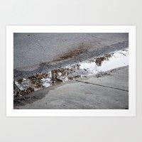 Grey Sidewalk Reflection Art Print