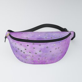 Watercolor Purple & Lilac Clouds & Stars Fanny Pack