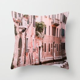 Venice pink canal with old buildings travel photography Throw Pillow