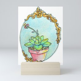 Watercolor succulent with scroll work Mini Art Print