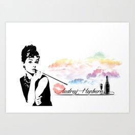 Audrey Hepburn Stencil Art Work Art Print