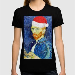 Van Gogh Self Portrait with a Santa Hat - Classic Art with a Christmas Twist T-shirt