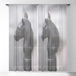 Standing Guard - Horse Head Hitching Post in New Orleans French Quarter Sheer Curtain
