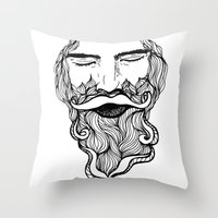 beard Throw Pillows featuring Beard  by Holly Harper