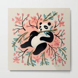 Panda Vibes – Pink & Cream Palette Metal Print