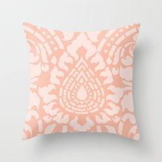 Peach Damask Pattern Throw Pillow
