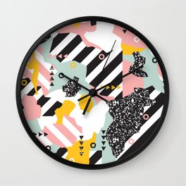 Spliced Geometric Memphis Pattern Geo Stripes Wall Clock