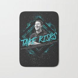 Mark Zuckerberg Motivational Art and Quote Bath Mat