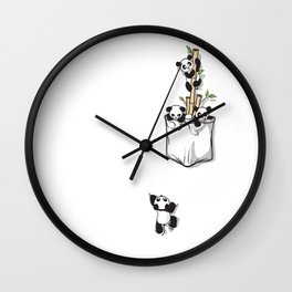 Cute Pocket Pandas Wall Clock