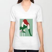 poison ivy V-neck T-shirts featuring Poison Ivy by Rizwanb