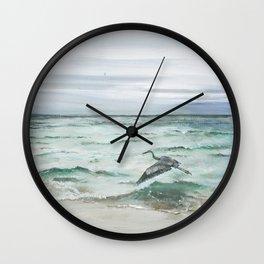 Anna Maria Island Florida Seascape with Heron Wall Clock