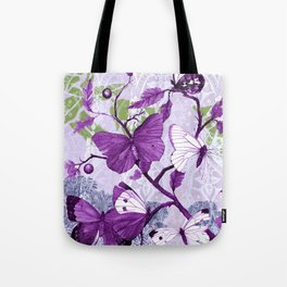 Purple Butterflies on a Branch Vintage Floral Tote Bag