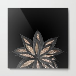Gray Black Agave with Gold Glitter #1 #shiny #tropical #decor #art #society6 Metal Print