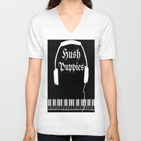 puppies V-neck T-shirts featuring Hush Puppies by Mike Semler