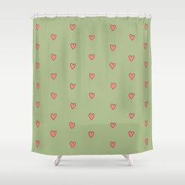Pretty Hearts in a Row Shower Curtain