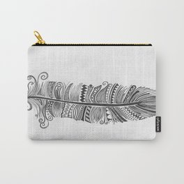 Black and White Feather Zen Carry-All Pouch