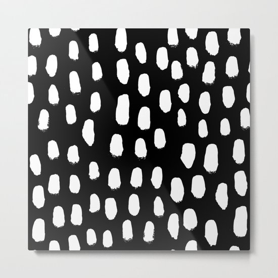 Spots black and white minimal dots pattern basic nursery home decor patterns Metal Print