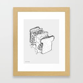 Exploded Grilled Cheese Sandwich (Gray) Framed Art Print