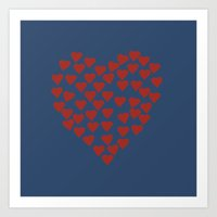 shrek Art Prints featuring Hearts Heart Red on Navy by Project M