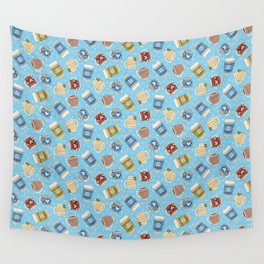 Cozy Mugs - Bg Blue Wood Wall Tapestry