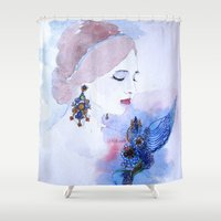 lady Shower Curtains featuring Lady by S.Svetlankova