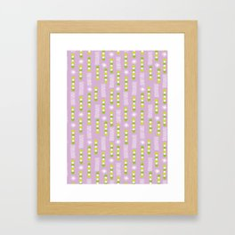 Lavender Purple Circles And Triangles With White Star Bursts Framed Art Print