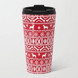 Husky fair isle red and white minimal christmas dog pattern gifts huskies Travel Mug