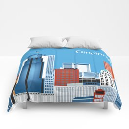 Cincinnati, Ohio - Skyline Illustration by Loose Petals Comforters