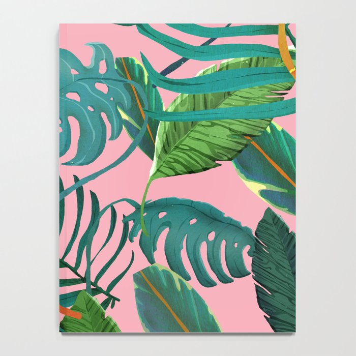 pinky tropical leaves Notebook