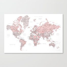 Dusty pink and grey detailed watercolor world map Canvas Print