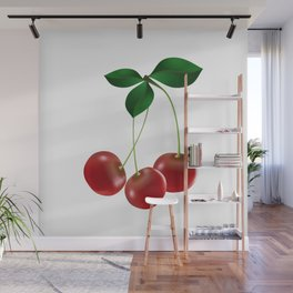 Cherries with leaves Wall Mural