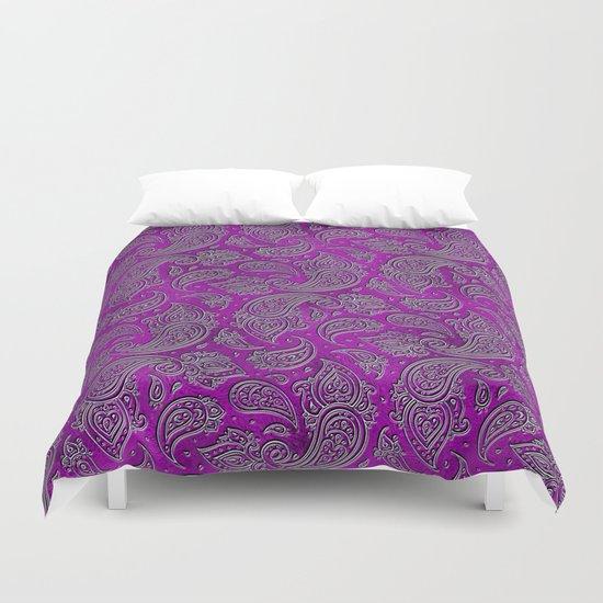 Silver embossed Paisley pattern on purple glass by k9printart