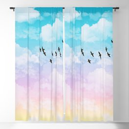 Little Fluffy Clouds Pastel Sky with Birds Blackout Curtain