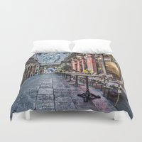 cafe Duvet Covers featuring Arcade Cafe by Steve Purnell