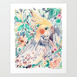 CHEEKY the Cockatiel Art Print