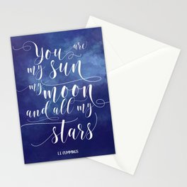 you are my sun, my moon, and all my stars EE Cummings Stationery Cards