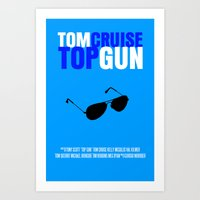 top gun Art Prints featuring Top Gun Movie Poster by FunnyFaceArt