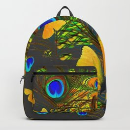 GREEN PEACOCK FEATHERS YELLOW BUTTERFLIES Backpack