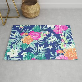Exotic Flowers and Leaves Rug