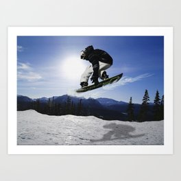 Born To Fly Snowboarder & Mountains Art Print
