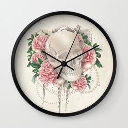Vintage Floral Skull Wall Clock