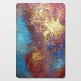 Red, Blue And Gold Modern Abstract Art Painting Cutting Board