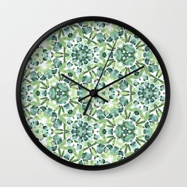 Green petal kaleidoscope  Wall Clock