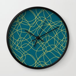 Dark Yellow Scribbled Lines Abstract Hand Drawn Mosaic on Tropical Dark Teal Inspired by Sherwin Williams 2020 Trending Color Oceanside SW6496 Wall Clock