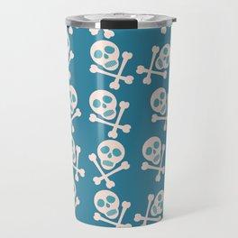 Blue seamless background. Skull and bones. Pirates. Travel Mug