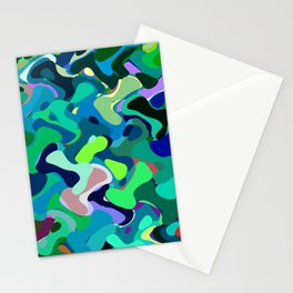 Deep underwater, abstract nautical print in blue shades Stationery Cards