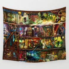 The Fantastic Voyage - a Steampunk Book Shelf Wall Tapestry