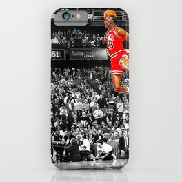 Infamous Jumpman Free Throw Line Dunk Poster Wall Art, Michael Jor-dan Poster iPhone Case