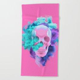 Colored Smoking Skull Beach Towel