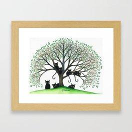 Borders Whimsical Cats in Tree Framed Art Print